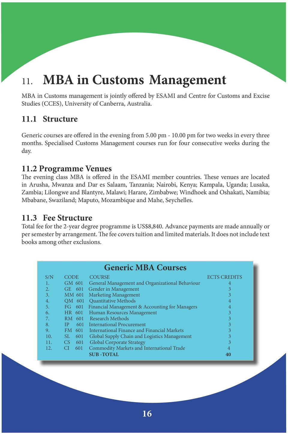 Specialised Customs Management courses run for four consecutive weeks during the day. 11.2 Programme Venues The evening class MBA is offered in the ESAMI member countries.