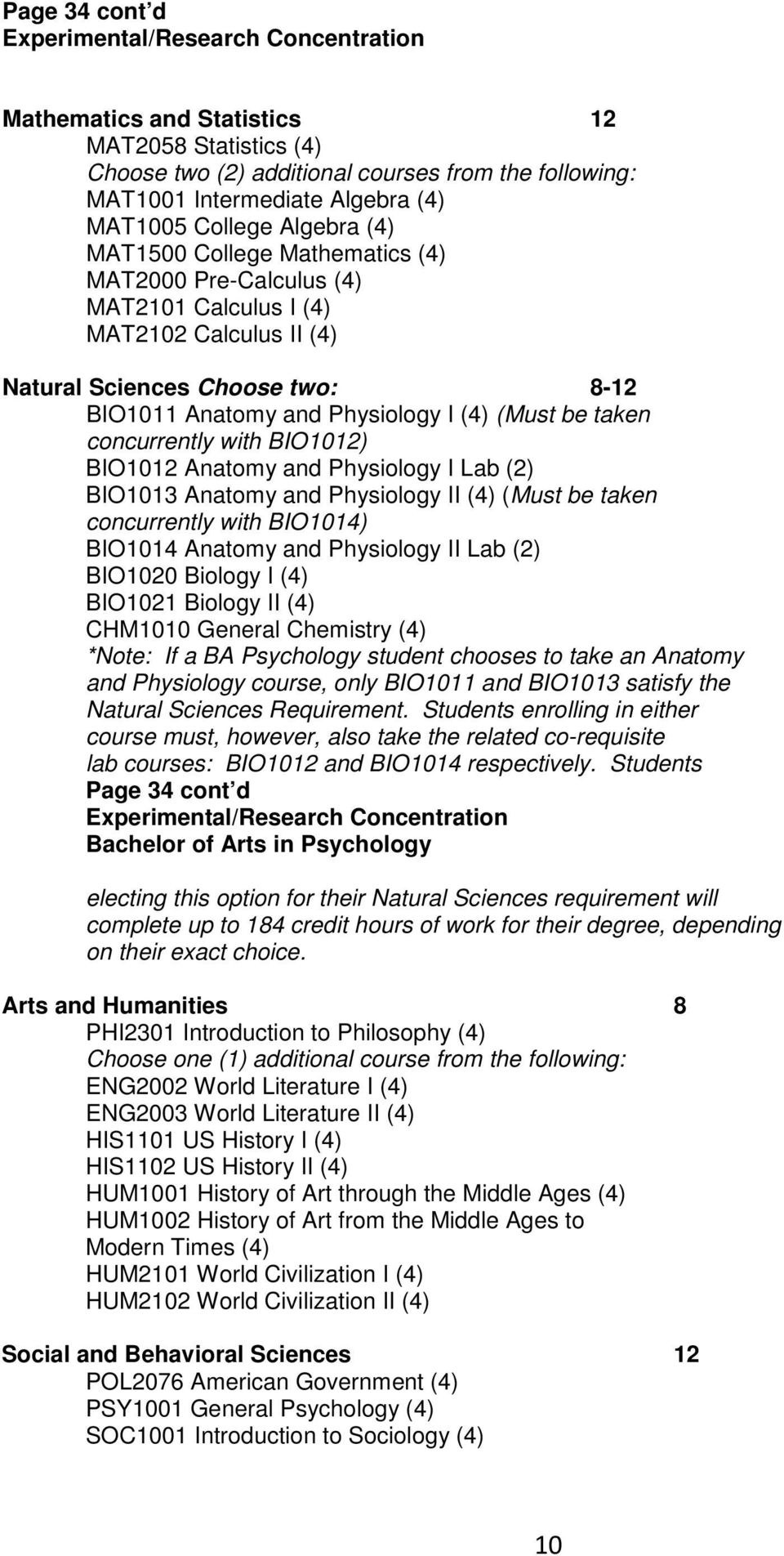 (Must be taken concurrently with BIO1012) BIO1012 Anatomy and Physiology I Lab (2) BIO1013 Anatomy and Physiology II (4) (Must be taken concurrently with BIO1014) BIO1014 Anatomy and Physiology II