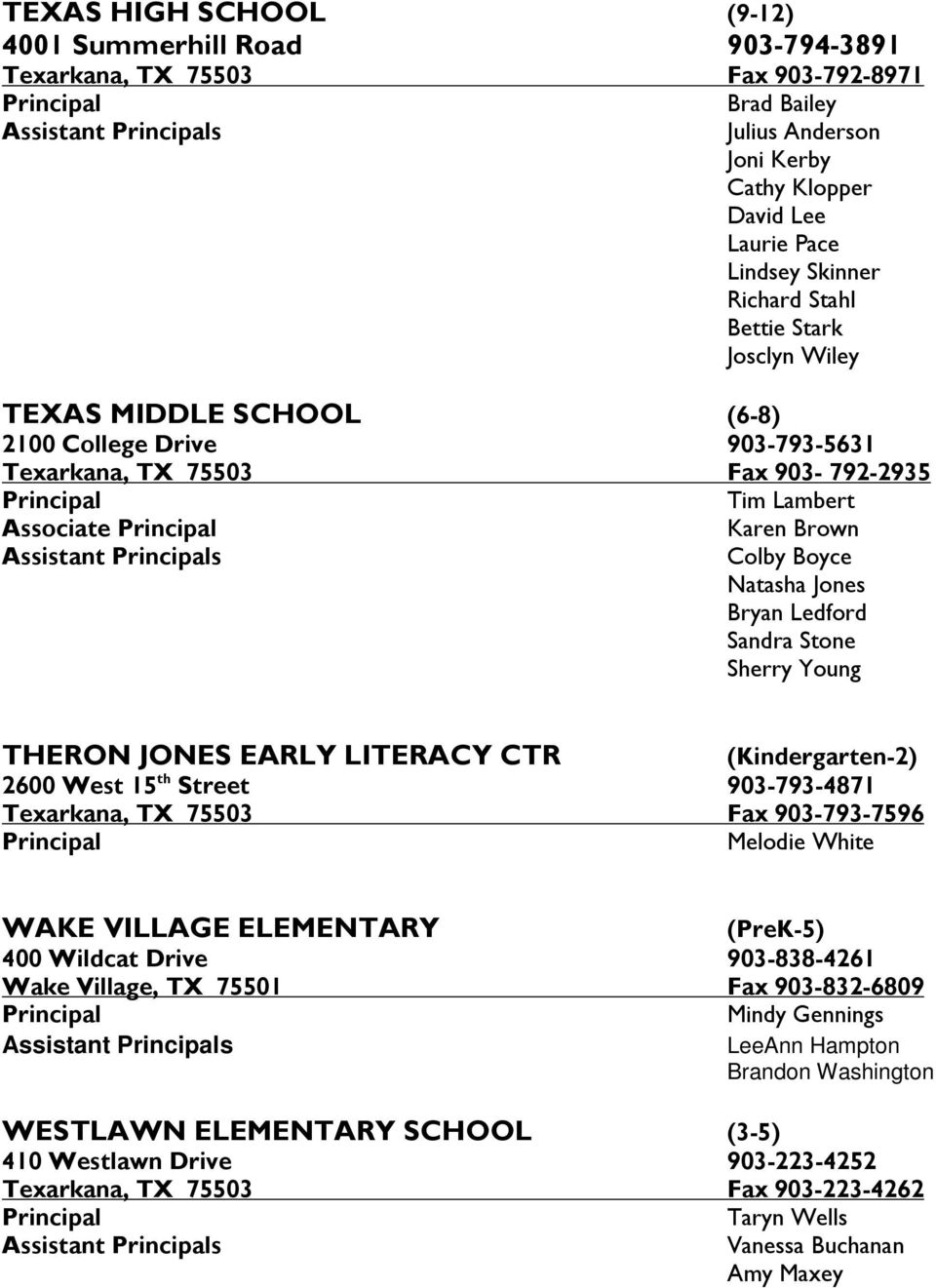 Brown Assistant Principals Colby Boyce Natasha Jones Bryan Ledford Sandra Stone Sherry Young THERON JONES EARLY LITERACY CTR (Kindergarten-2) 2600 West 15 th Street 903-793-4871 Texarkana, TX 75503