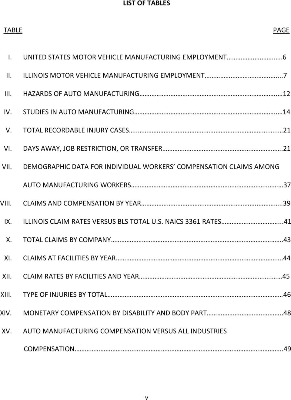 21 DEMOGRAPHIC DATA FOR INDIVIDUAL WORKERS COMPENSATION CLAIMS AMONG AUTO MANUFACTURING WORKERS.... 37 VIII. IX. CLAIMS AND COMPENSATION BY YEAR....39 ILLINOIS CLAIM RATES VERSUS BLS TOTAL U.S. NAICS 3361 RATES.