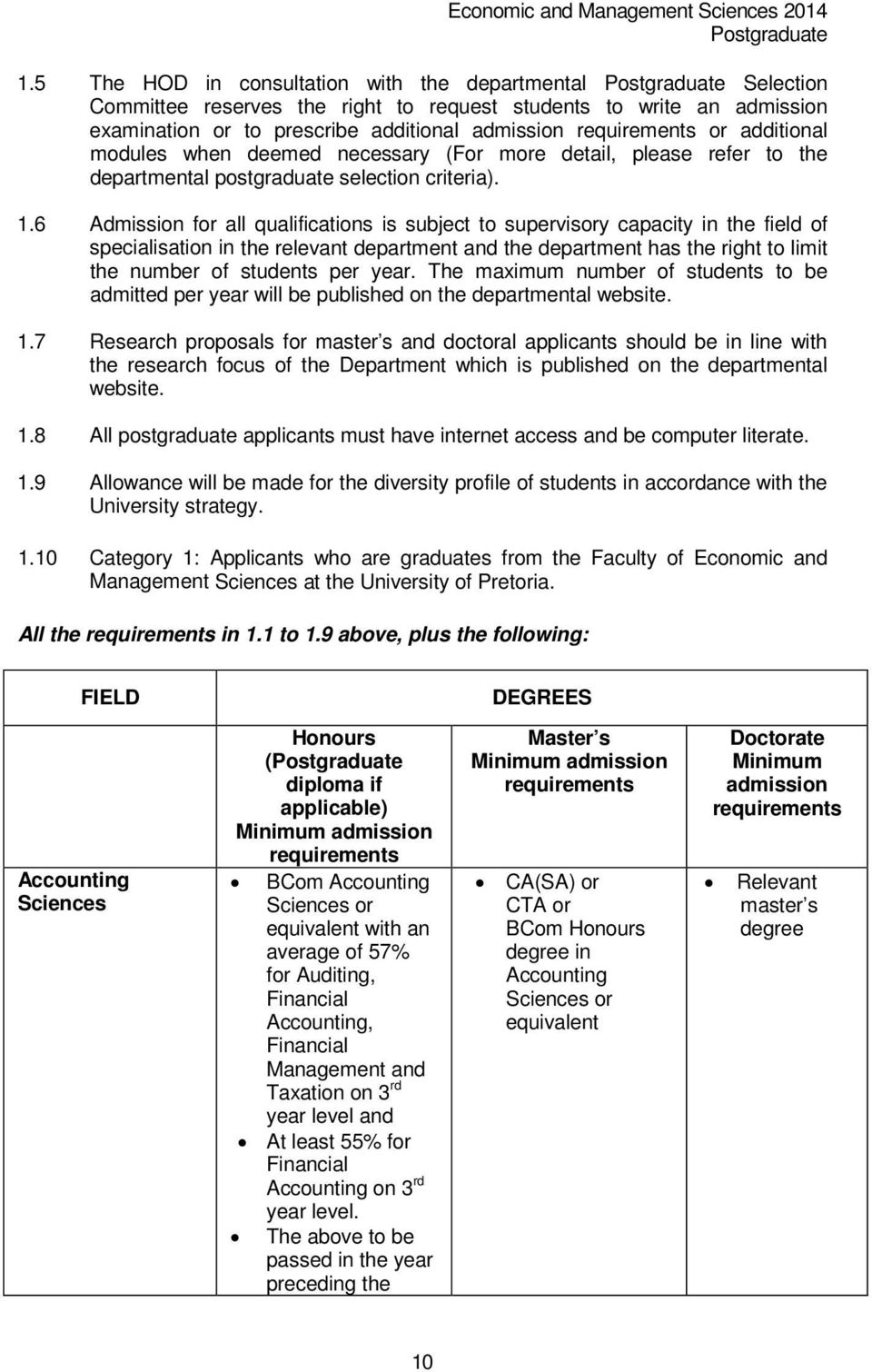 6 Admission for all qualifications is subject to supervisory capacity in the field of specialisation in the relevant department and the department has the right to limit the number of students per