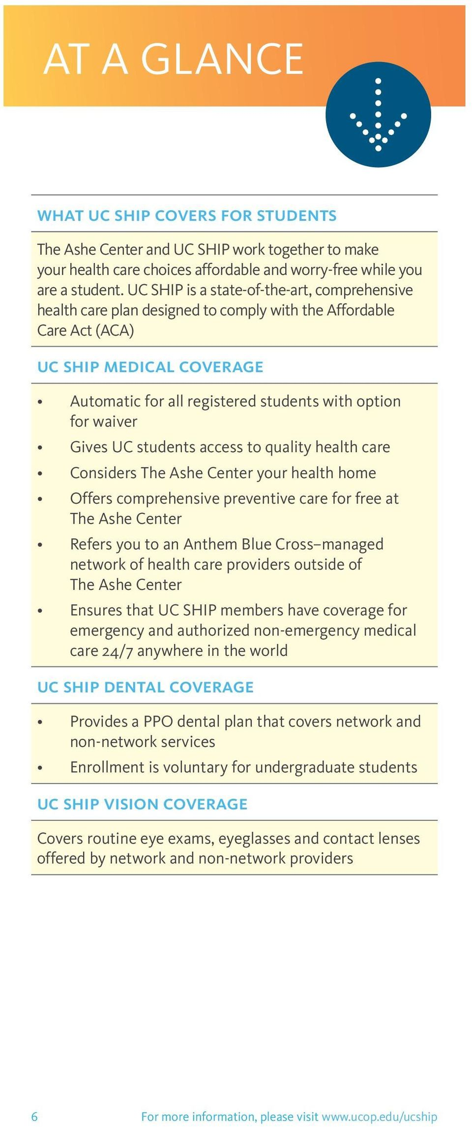 waiver Gives UC students access to quality health care Considers The Ashe Center your health home Offers comprehensive preventive care for free at The Ashe Center Refers you to an Anthem Blue Cross