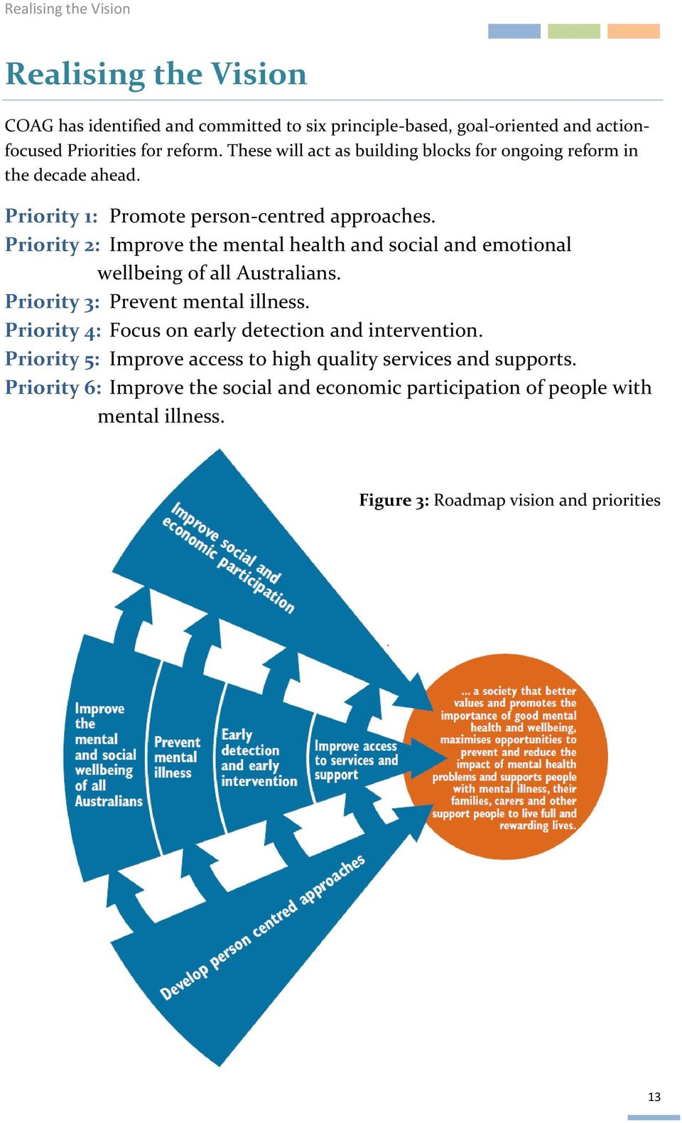 Priority 2: Improve the mental health and social and emotional wellbeing of all Australians. Priority 3: Prevent mental illness.