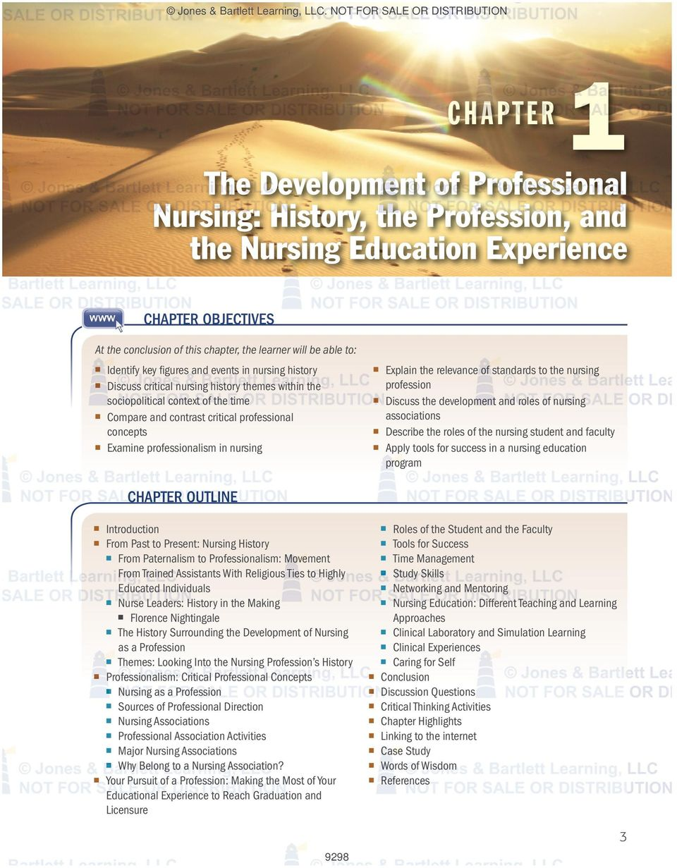learner will be able to: Identify key figures and events in nursing history Discuss critical nursing history themes within the sociopolitical context of the time Compare and contrast critical