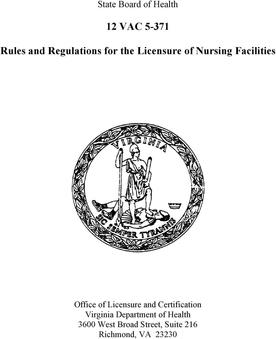 Office of Licensure and Certification Virginia