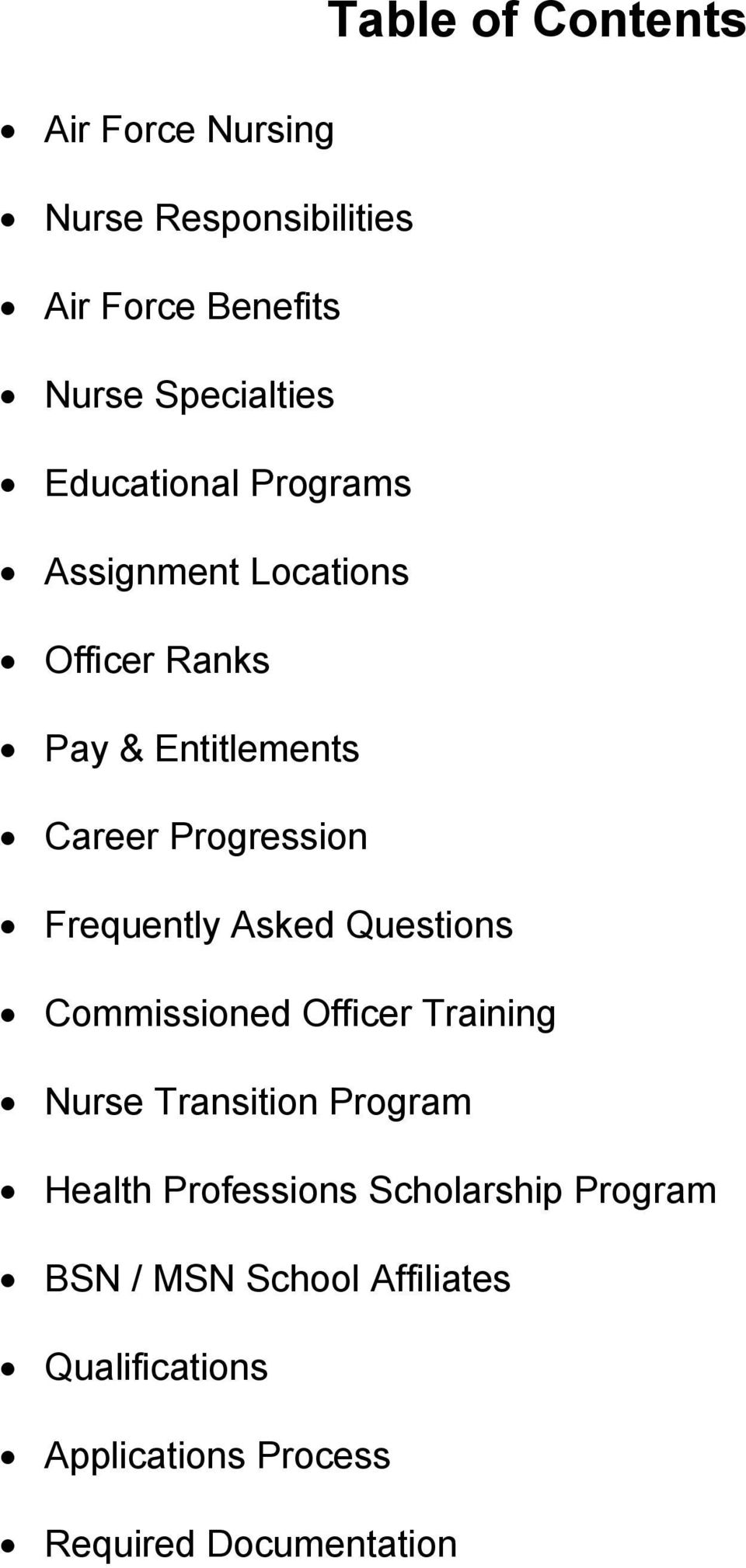 Frequently Asked Questions Commissioned Officer Training Nurse Transition Program Health