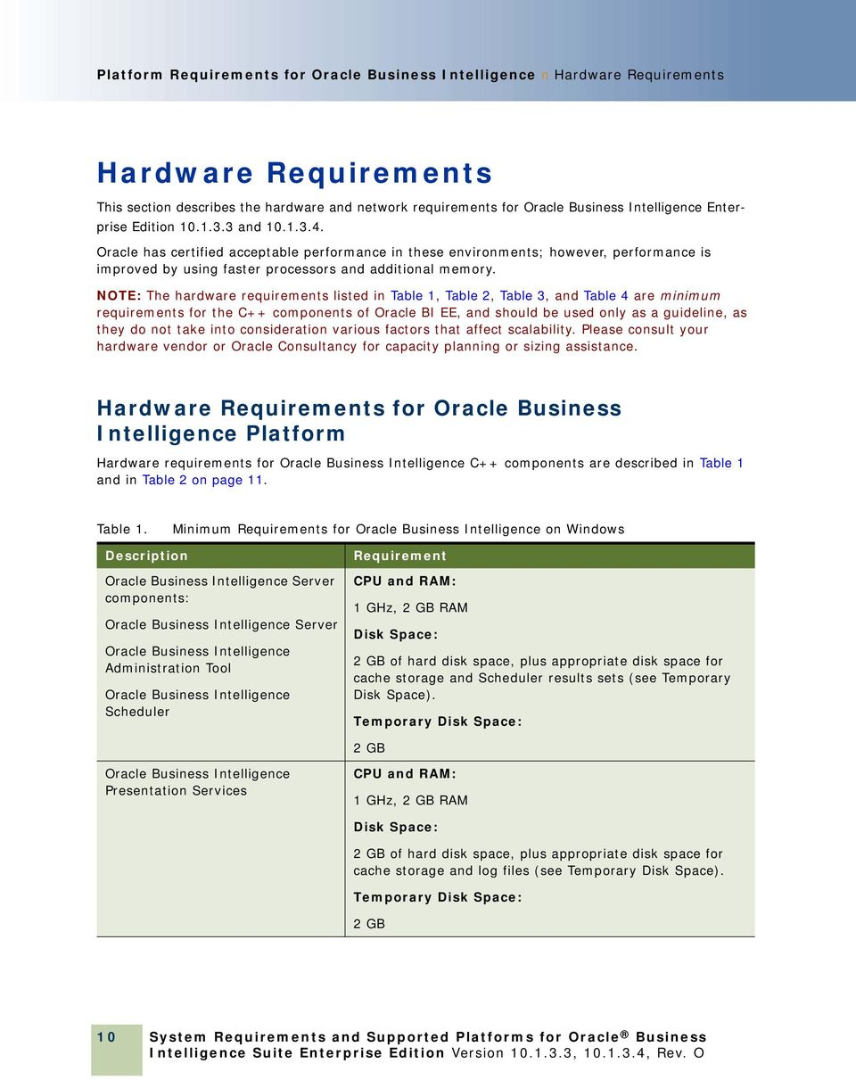NOTE: The hardware requirements listed in Table 1, Table 2, Table 3, and Table 4 are minimum requirements for the C++ components of Oracle BI EE, and should be used only as a guideline, as they do