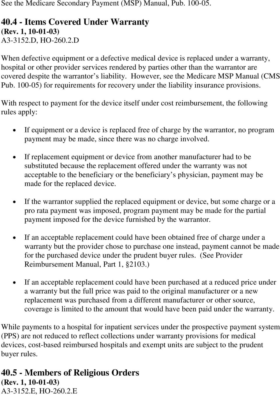 02d When Defective Equipment Or A Defective Medical Device Is Replaced  Under A Warranty