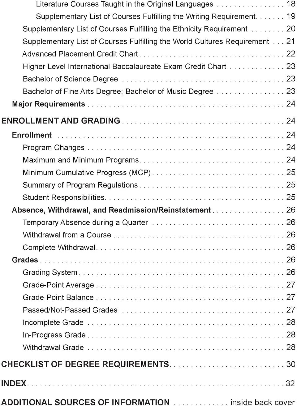 ................................. 22 Higher Level International Baccalaureate Exam Credit Chart............. 23 Bachelor of Science Degree...................................... 23 Bachelor of Fine Arts Degree; Bachelor of Music Degree.