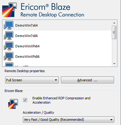 Configure any Blaze settings as desired and click the Connect button to connect to the selected desktop. NOTE The Blaze client does not support PCoIP.