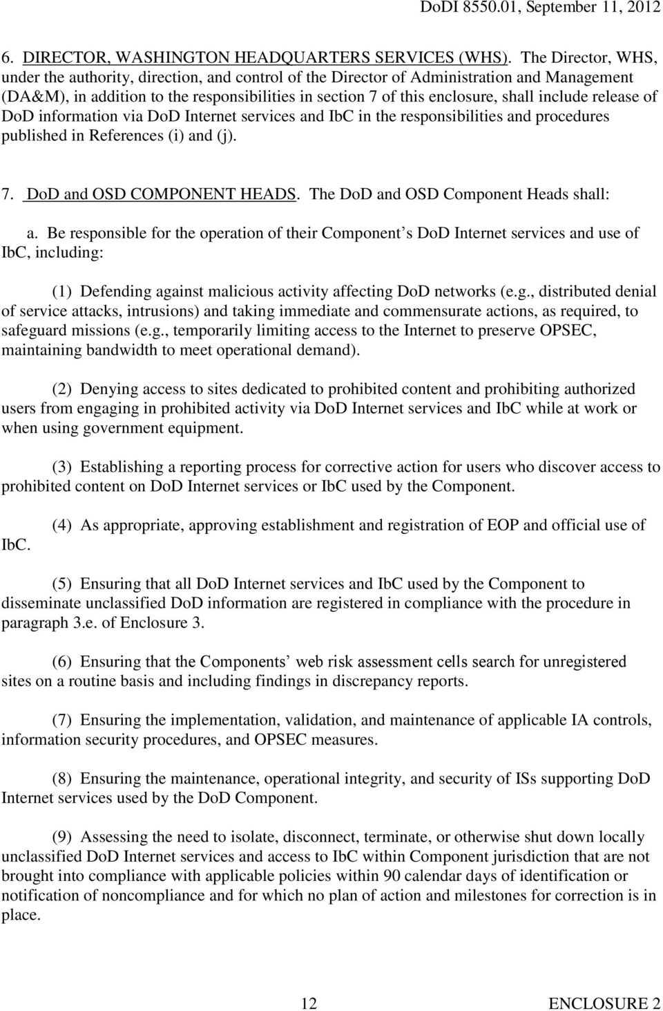 include release of DoD information via DoD Internet services and IbC in the responsibilities and procedures published in References (i) and (j). 7. DoD and OSD COMPONENT HEADS.
