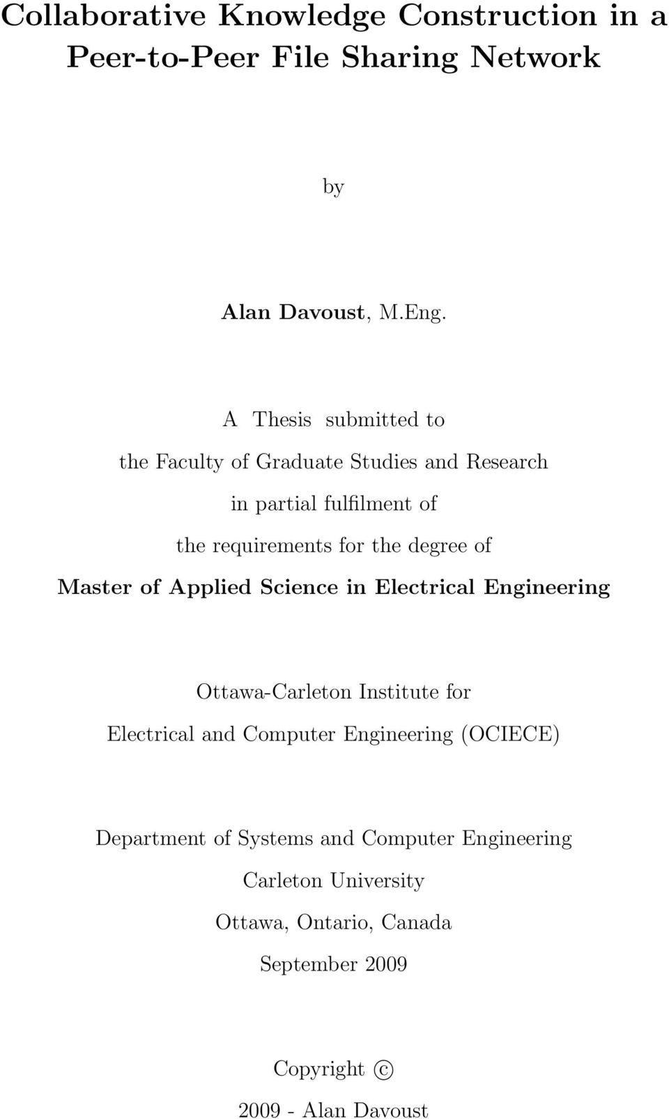 degree of Master of Applied Science in Electrical Engineering Ottawa-Carleton Institute for Electrical and Computer