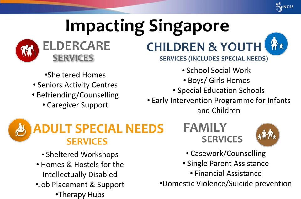 YOUTH SERVICES (INCLUDES SPECIAL NEEDS) School Social Work Boys/ Girls Homes Special Education Schools Early Intervention Programme for