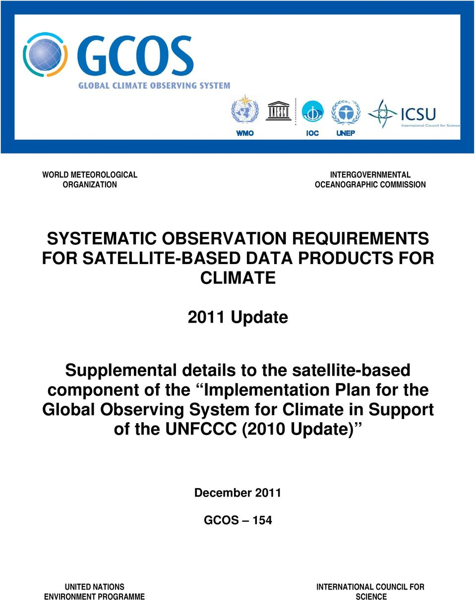 satellite-based component of the Implementation Plan for the Global Observing System for Climate in