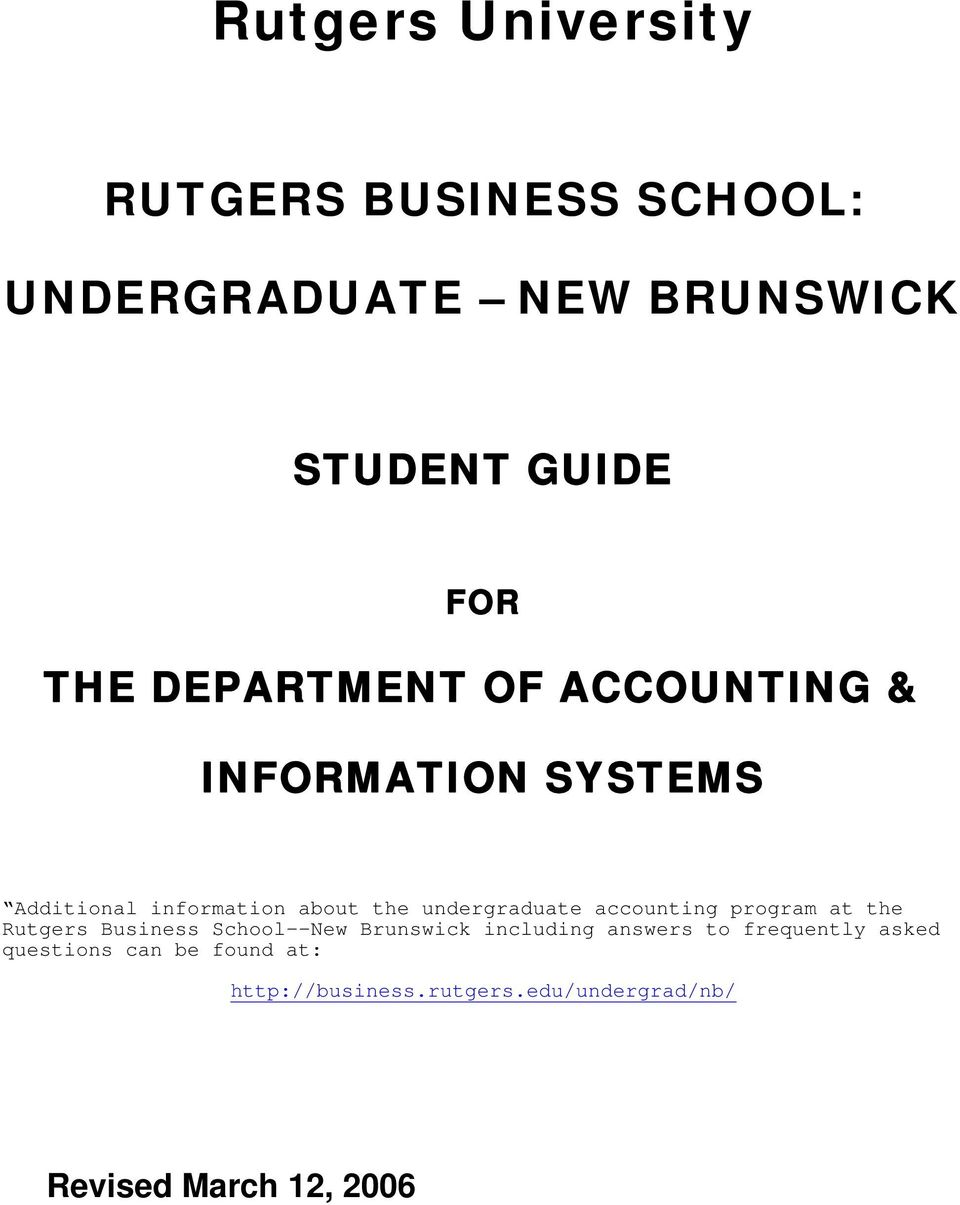 accounting program at the Rutgers Business School--New Brunswick including answers to