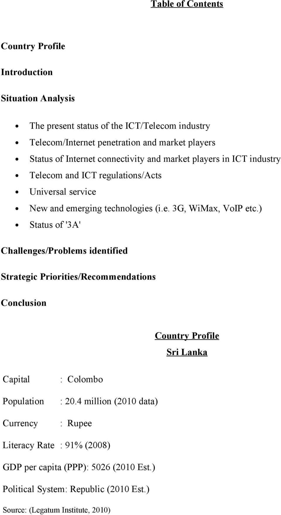 ) Status of '3A' Challenges/Problems identified Strategic Priorities/Recommendations Conclusion Country Profile Sri Lanka Capital Population Currency : Colombo : 20.