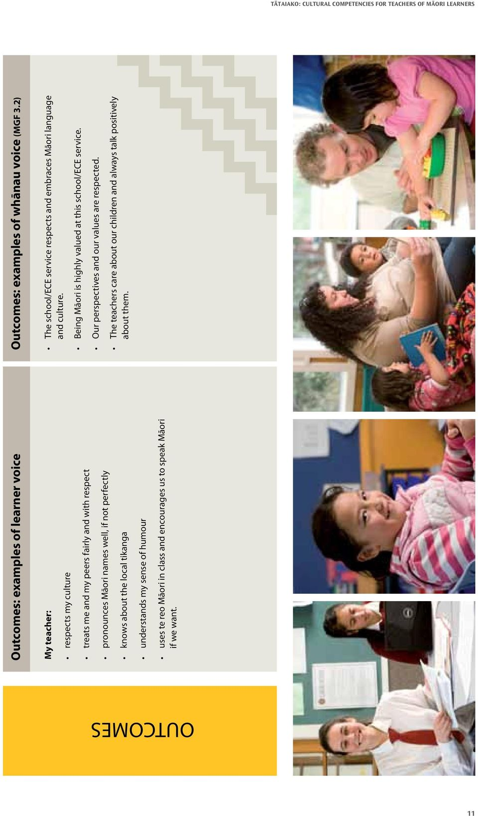 Outcomes: examples of whānau voice (MGF 3.2) The school/ece service respects and embraces Māori language and culture.