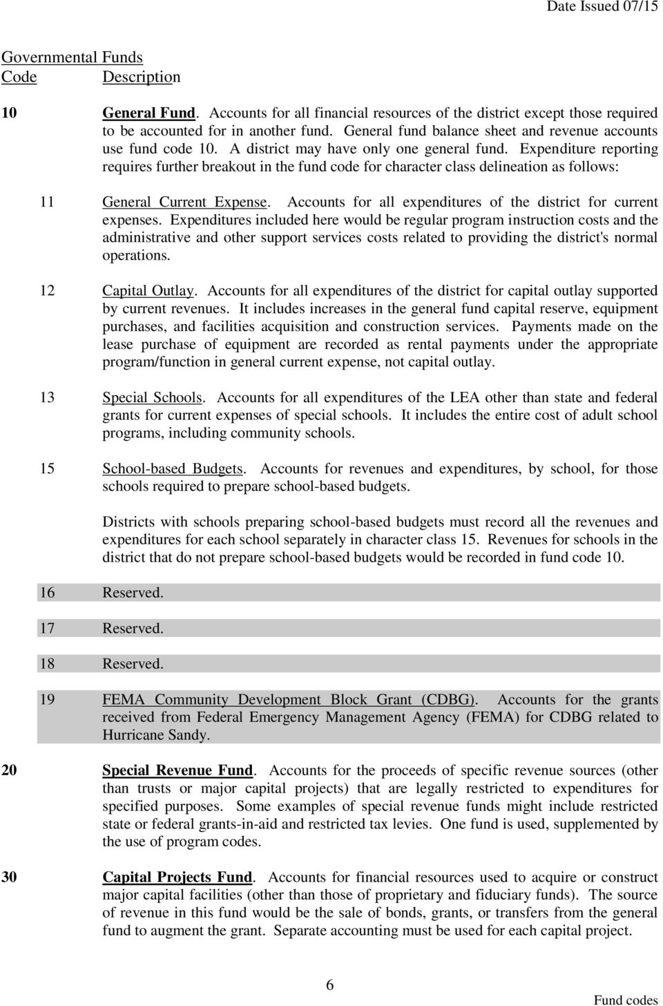 Expenditure reporting requires further breakout in the fund code for character class delineation as follows: 11 General Current Expense. s for all expenditures of the district for current expenses.