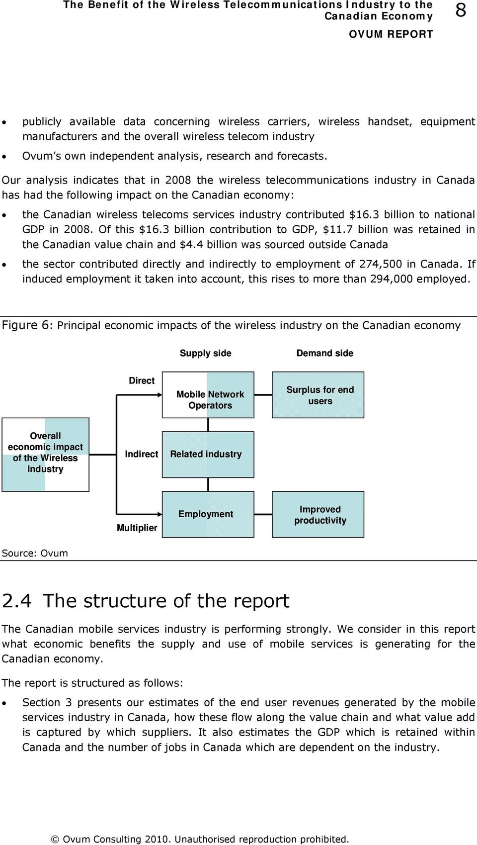 contributed $16.3 billion to national GDP in 2008. Of this $16.3 billion contribution to GDP, $11.7 billion was retained in the Canadian value chain and $4.