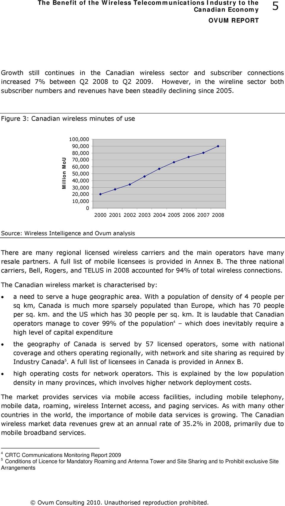Figure 3: Canadian wireless minutes of use Million MoU 100,000 90,000 80,000 70,000 60,000 50,000 40,000 30,000 20,000 10,000 0 2000 2001 2002 2003 2004 2005 2006 2007 2008 Source: Wireless
