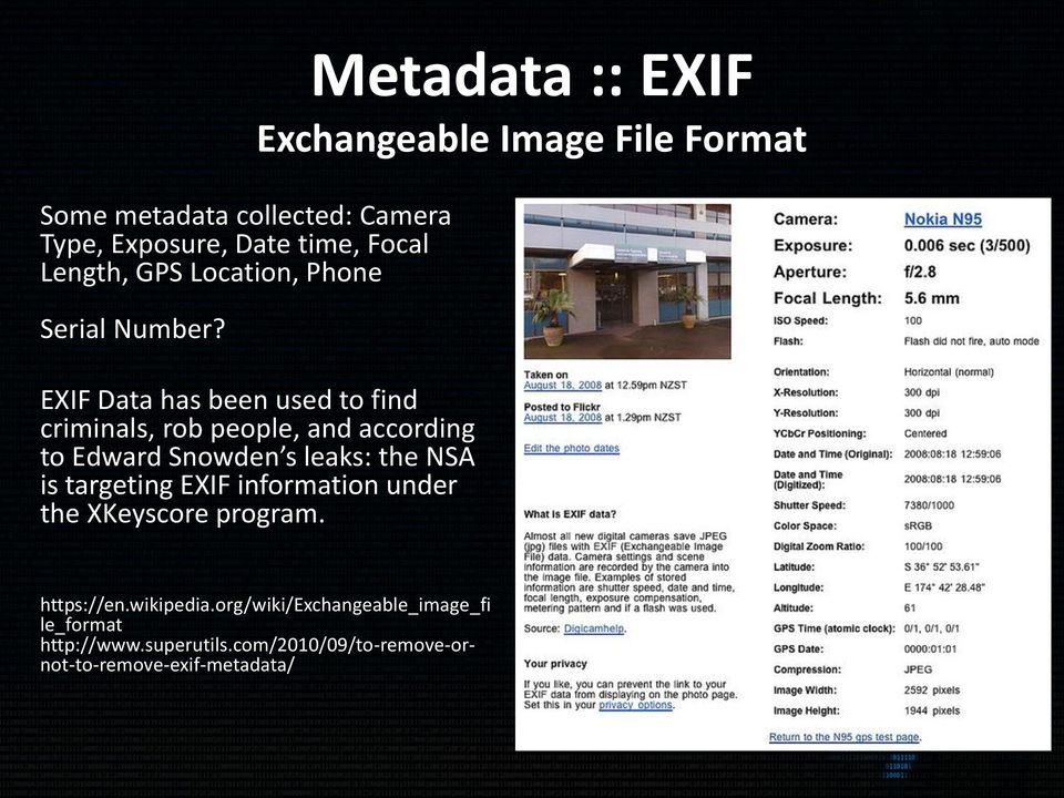 EXIF Data has been used to find criminals, rob people, and according to Edward Snowden s leaks: the NSA is