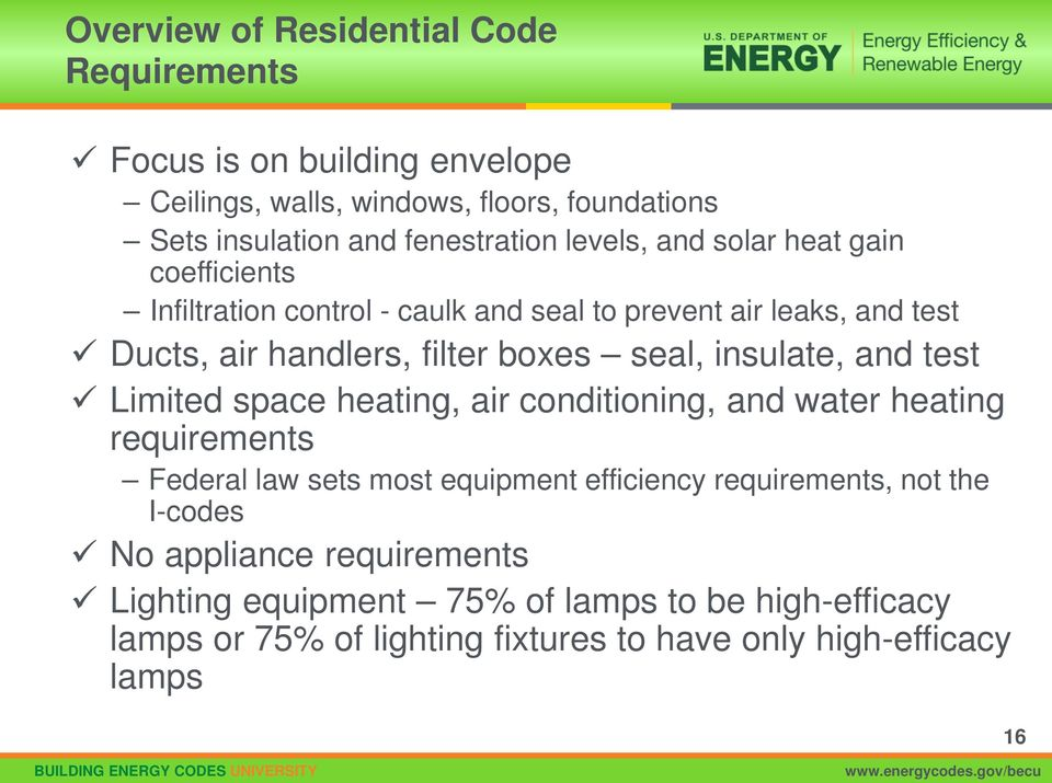 insulate, and test Limited space heating, air conditioning, and water heating requirements Federal law sets most equipment efficiency requirements, not