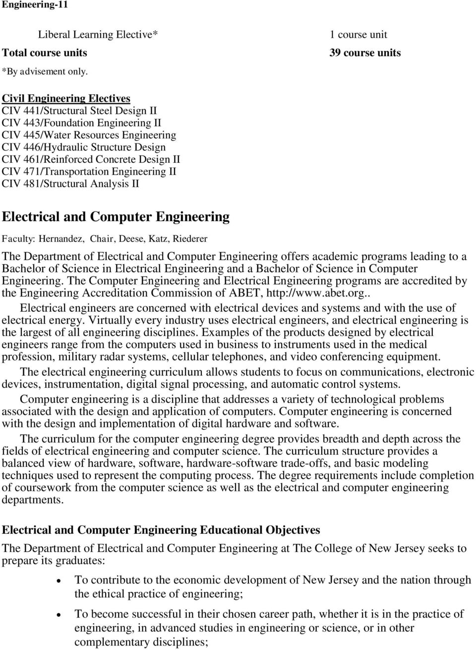461/Reinforced Concrete Design II CIV 471/Transportation Engineering II CIV 481/Structural Analysis II Electrical and Computer Engineering Faculty: Hernandez, Chair, Deese, Katz, Riederer The