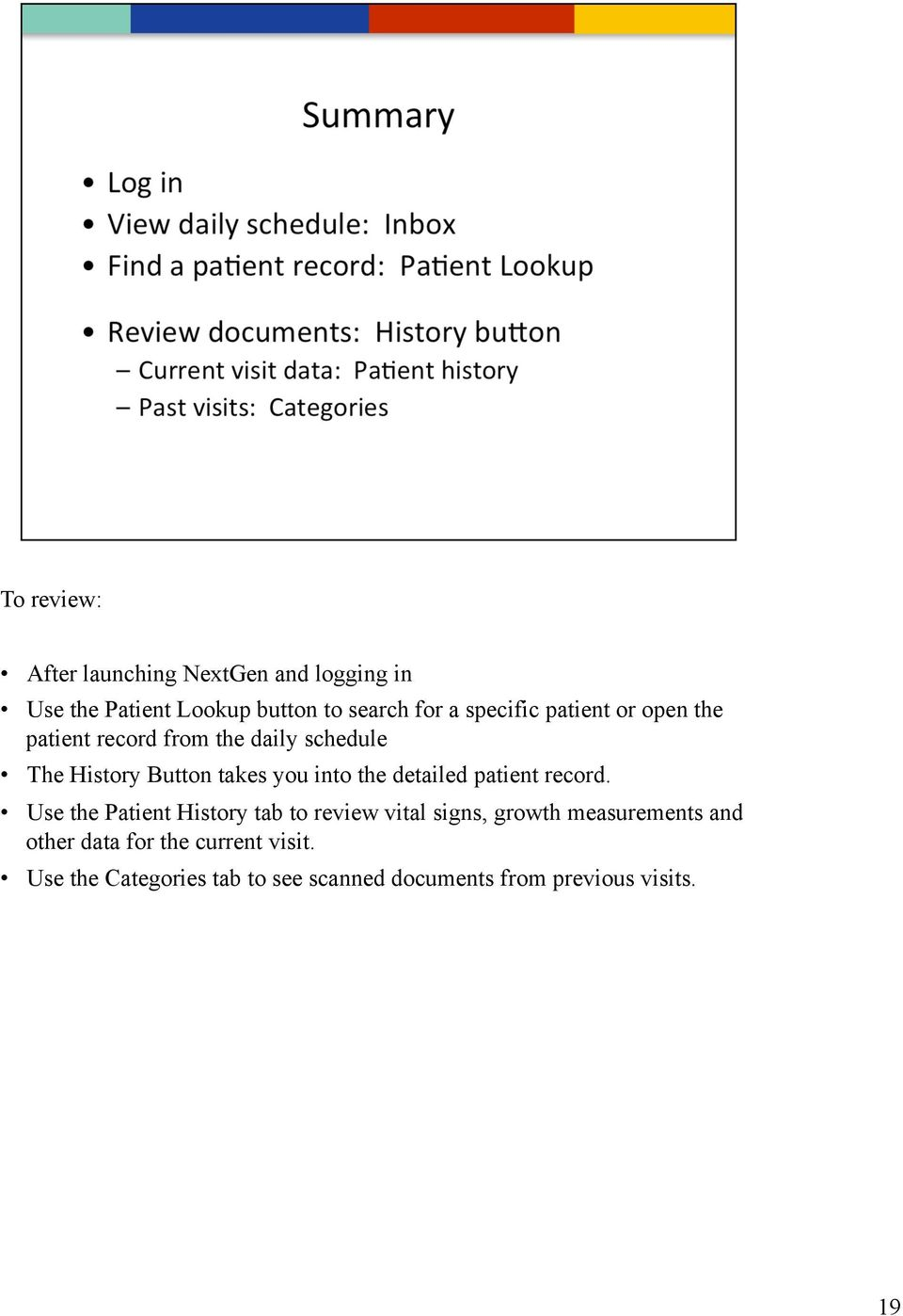 the detailed patient record.