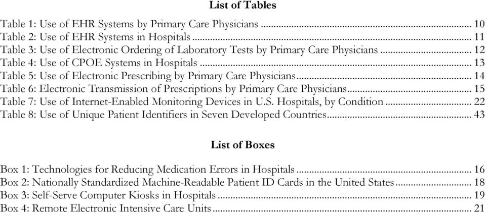 .. 13 Table 5: Use of Electronic Prescribing by Primary Care Physicians... 14 Table 6: Electronic Transmission of Prescriptions by Primary Care Physicians.