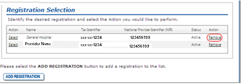 10.3.2 Registration Select Option Figure 30: Registration Select Example When the Select link is selected, the registration details displays for the Registration Id selected. Figure 30 is an example.