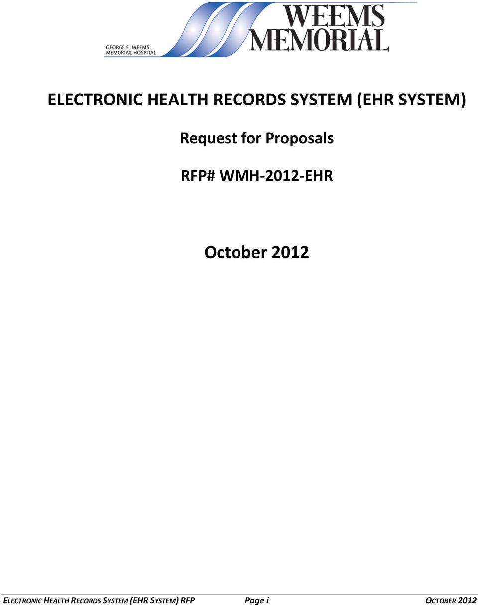 WMH-2012-EHR October 2012  SYSTEM) RFP