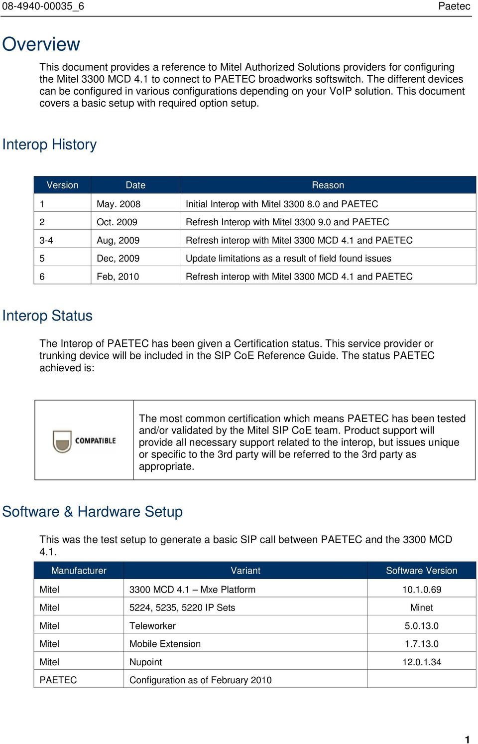Interop History Version Date Reason 1 May. 2008 Initial Interop with Mitel 3300 8.0 and PAETEC 2 Oct. 2009 Refresh Interop with Mitel 3300 9.