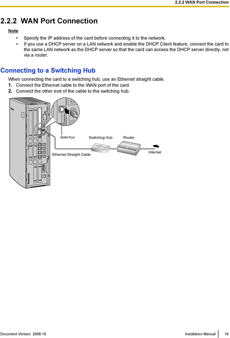 the DHCP server directly, not via a router. Connecting to a Switching Hub When connecting the card to a switching hub, use an Ethernet straight cable. 1.