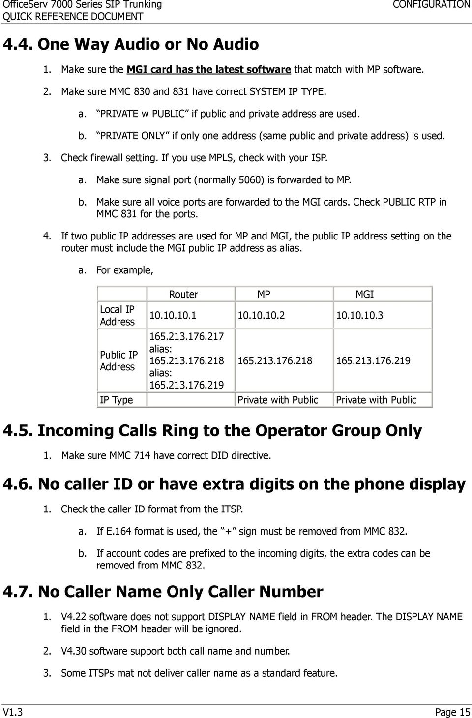 b. Make sure all voice ports are forwarded to the MGI cards. Check PUBLIC RTP in MMC 831 for the ports. 4.