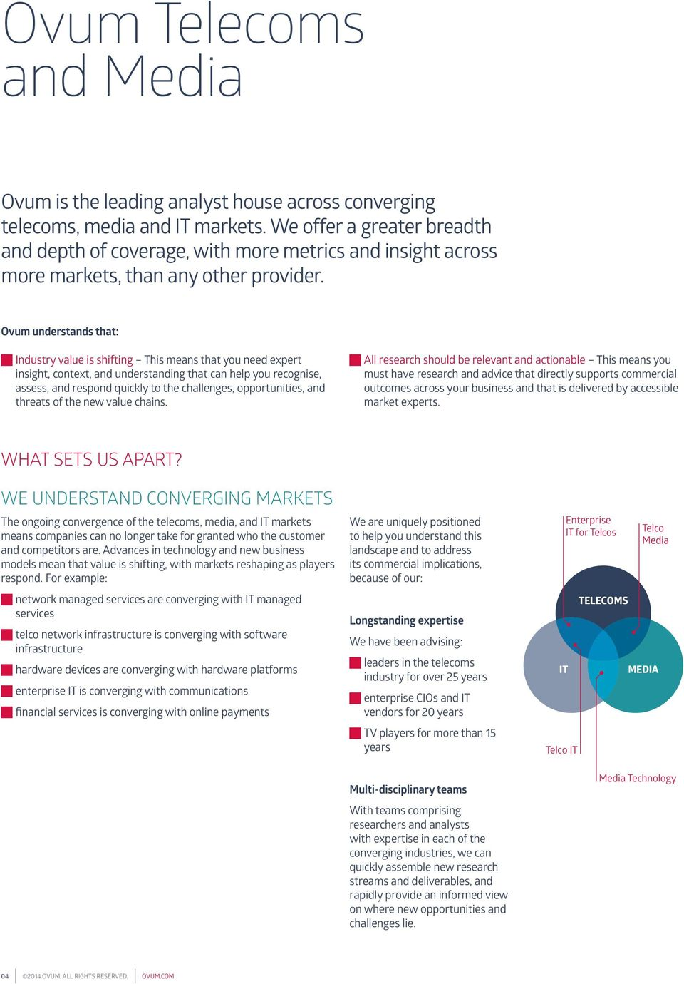 Ovum understands that: Industry value is shifting This means that you need expert insight, context, and understanding that can help you recognise, assess, and respond quickly to the challenges,