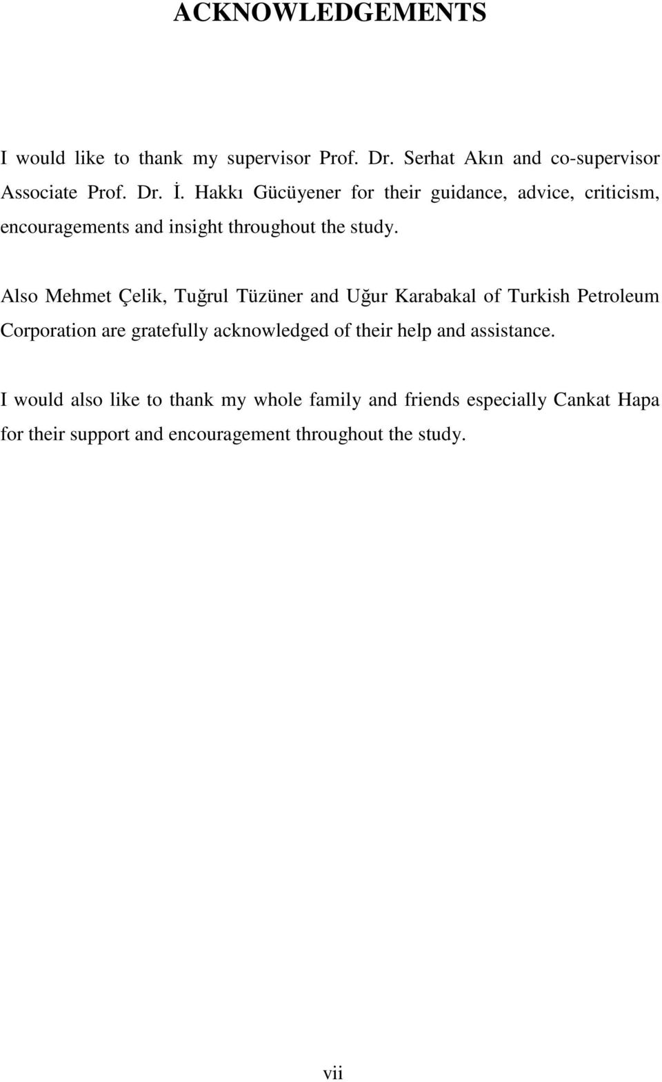 Also Mehmet Çelik, Tuğrul Tüzüner and Uğur Karabakal of Turkish Petroleum Corporation are gratefully acknowledged of their