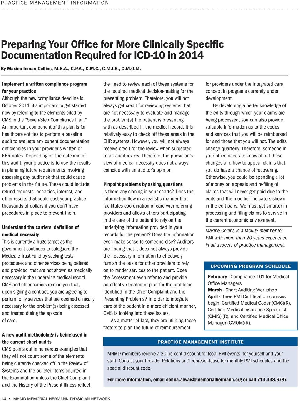 re Clinically Specific Documentation Required for ICD-10 in 2014 By Ma