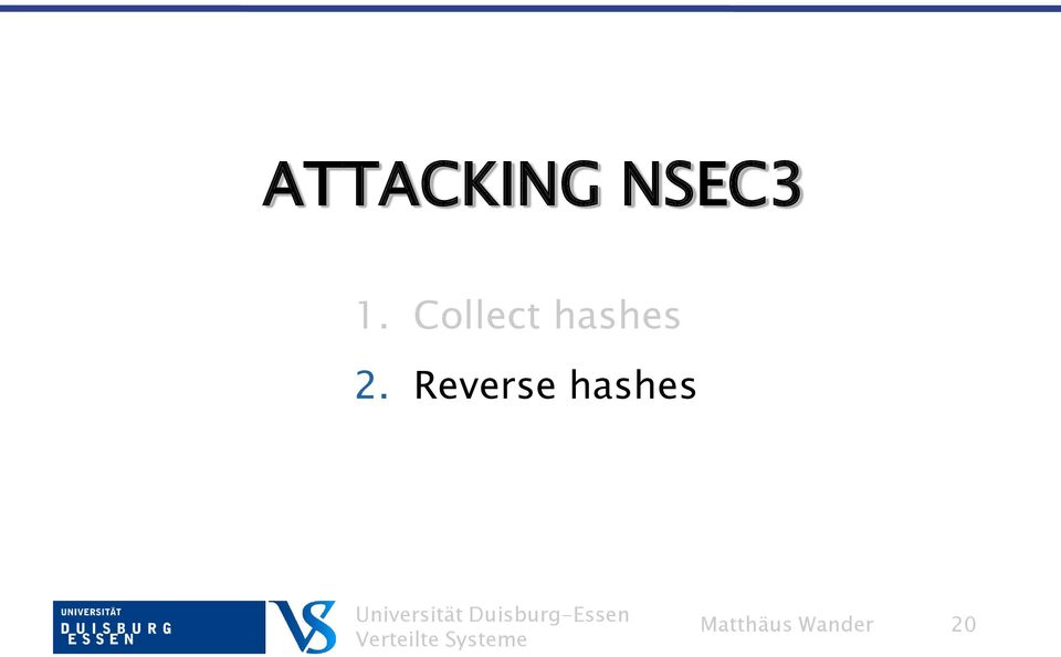 Reverse hashes