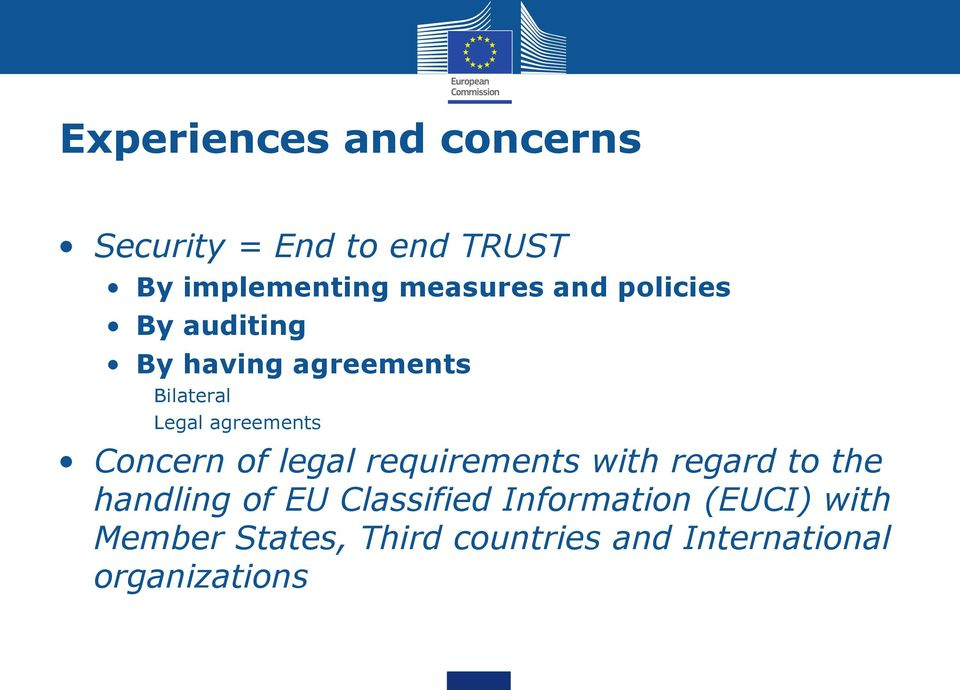 Concern of legal requirements with regard to the handling of EU Classified