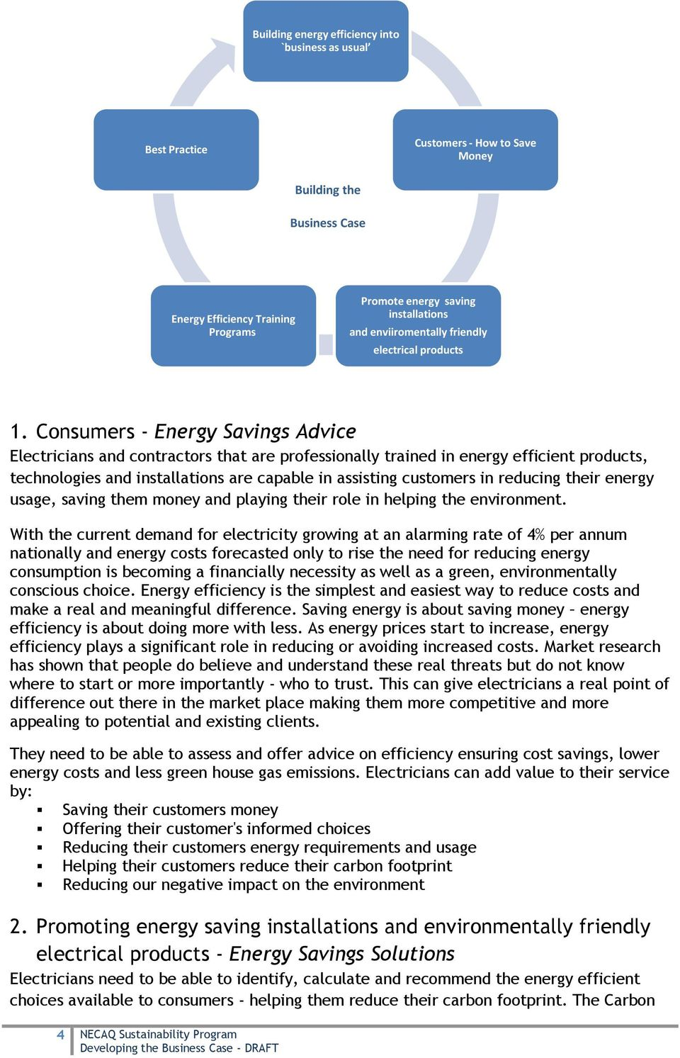 Consumers - Energy Savings Advice Electricians and contractors that are professionally trained in energy efficient products, technologies and installations are capable in assisting customers in