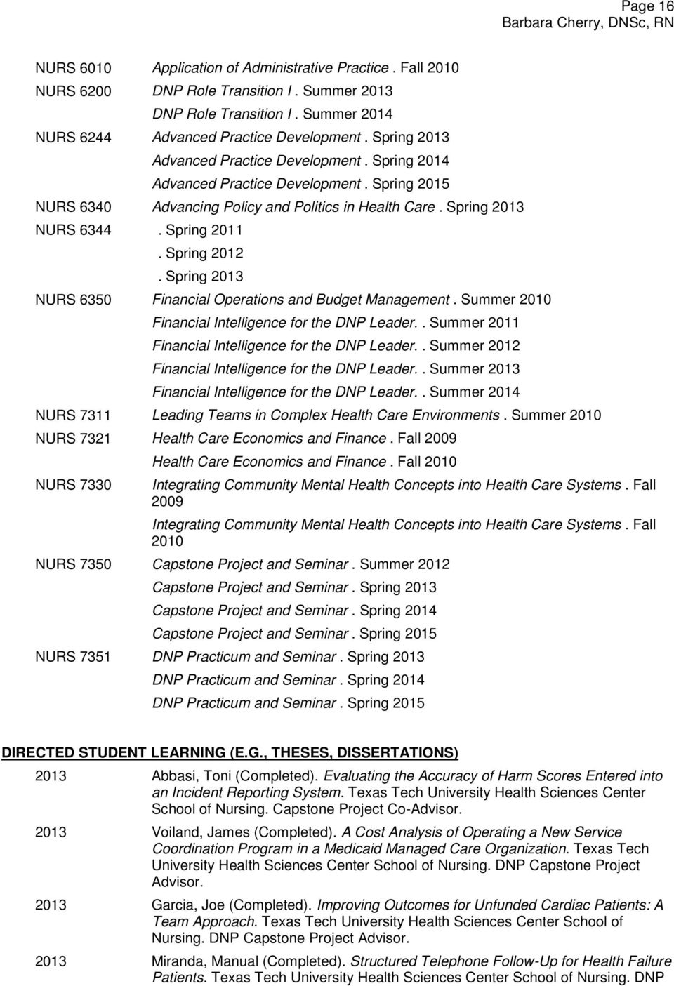 Spring 2012. Spring 2013 NURS 6350 Financial Operations and Budget Management. Summer 2010 Financial Intelligence for the DNP Leader.. Summer 2011 Financial Intelligence for the DNP Leader.
