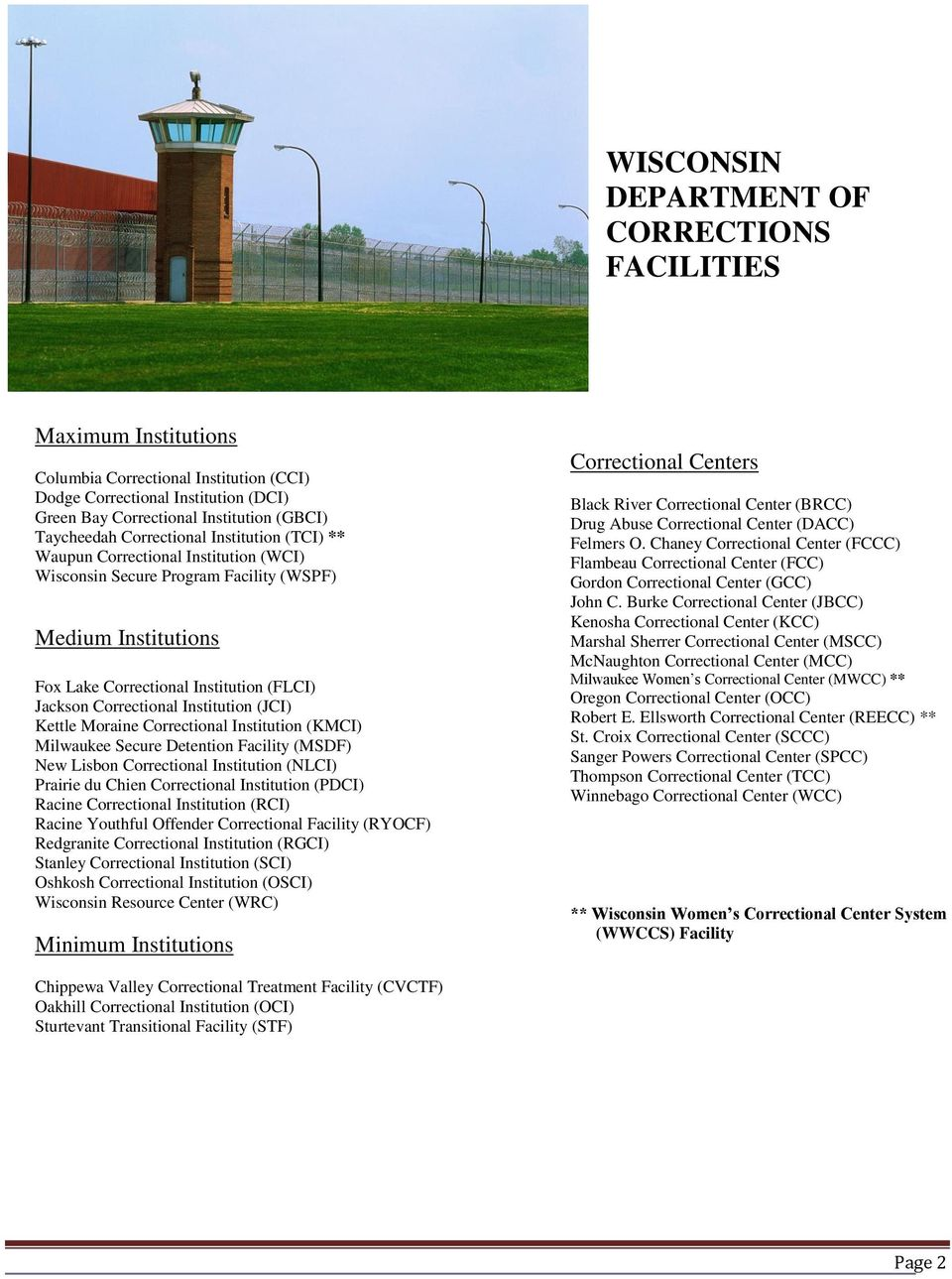 Institution (JCI) Kettle Moraine Correctional Institution (KMCI) Milwaukee Secure Detention Facility (MSDF) New Lisbon Correctional Institution (NLCI) Prairie du Chien Correctional Institution (PDCI)