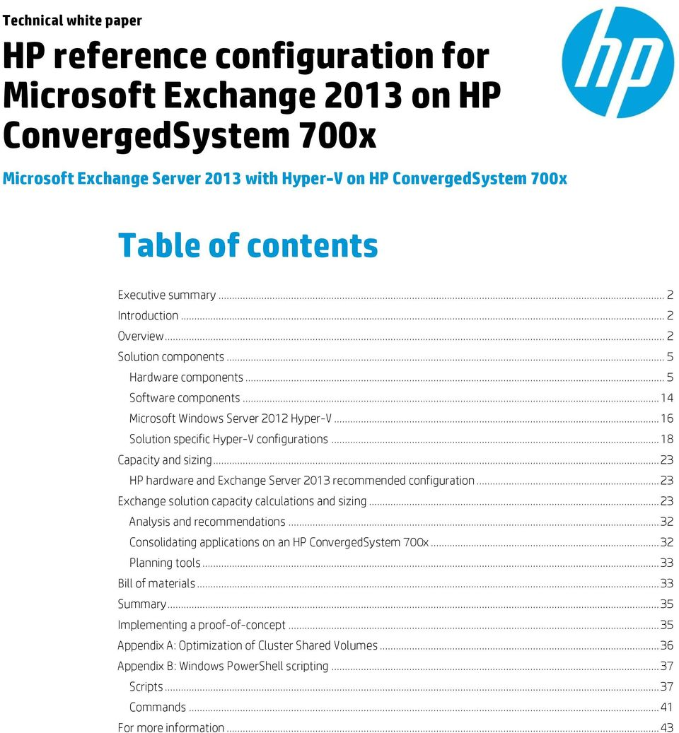 Hp reference configuration for microsoft exchange 2013 on hp 16 solution specific hyper v configurations 18 capacity and sizing 1betcityfo Images