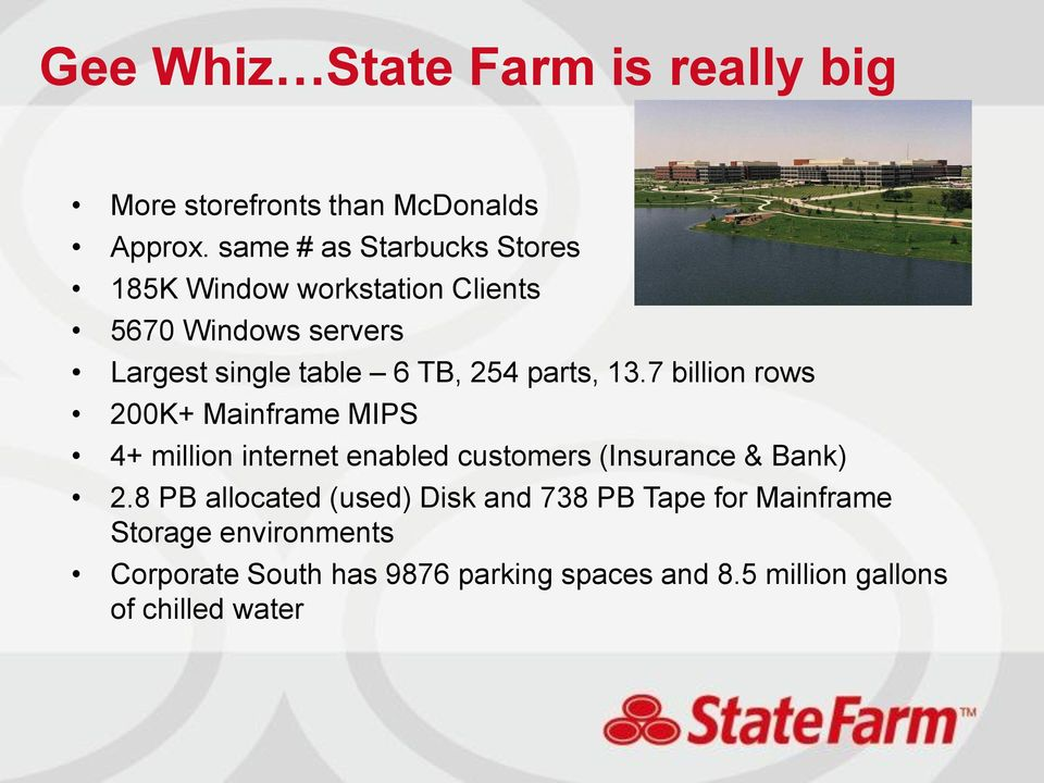 parts, 13.7 billion rows 200K+ Mainframe MIPS 4+ million internet enabled customers (Insurance & Bank) 2.