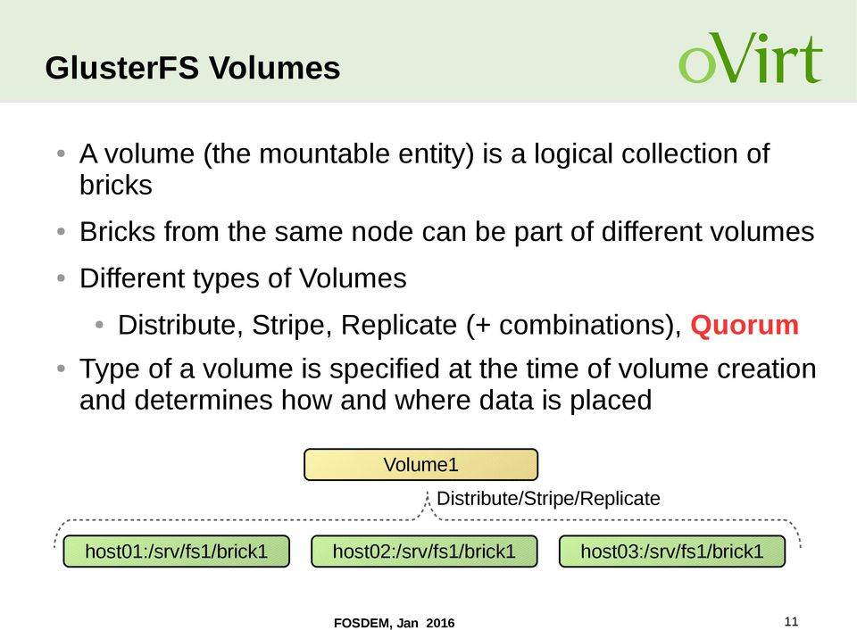 Type of a volume is specified at the time of volume creation and determines how and where data is placed Volume1