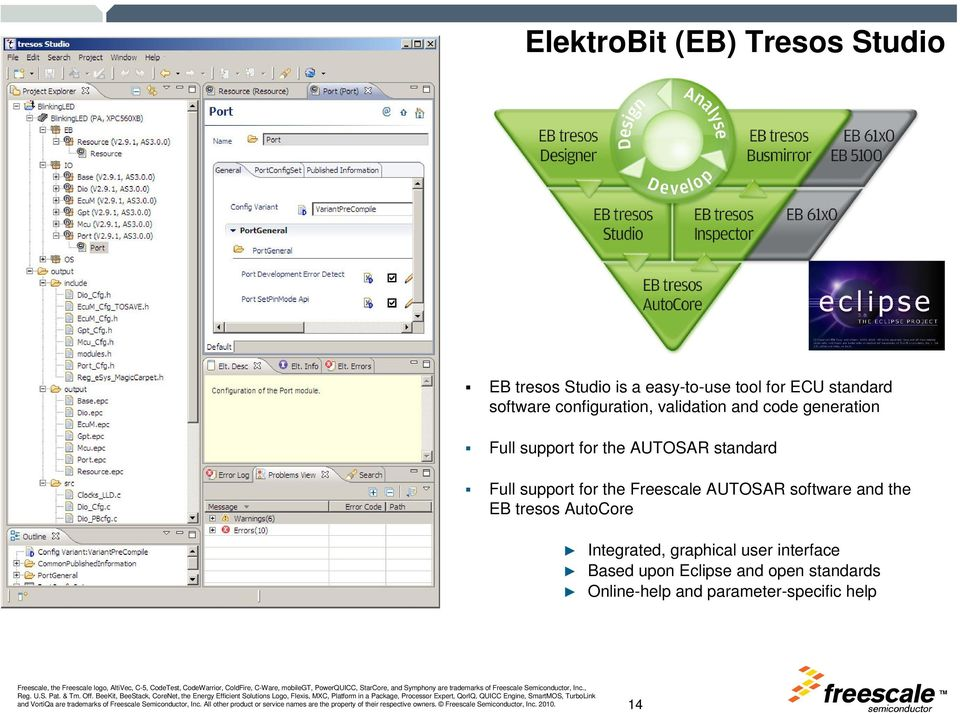 Full support for the Freescale AUTOSAR software and the EB tresos AutoCore Integrated,