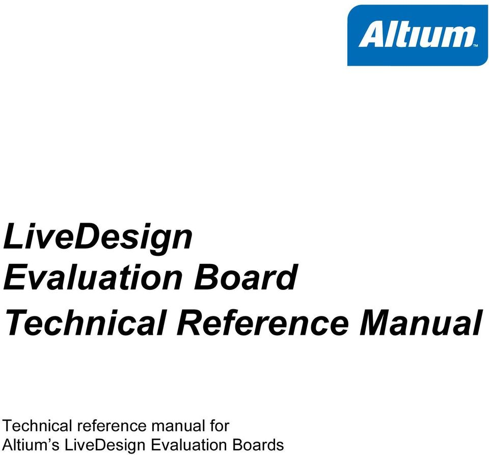 Technical reference manual for
