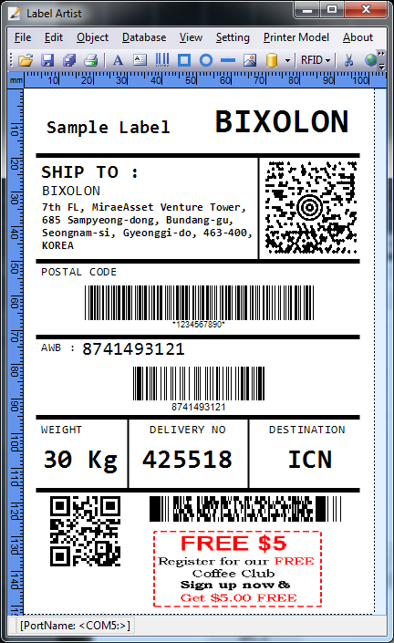 1D/2D Barcode Database connection Microsoft excel file (*.xls, *.