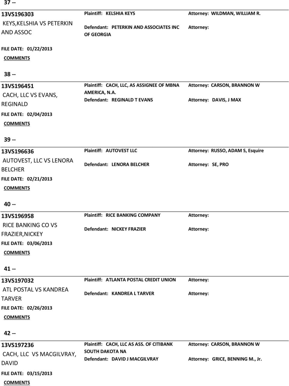 D ASSOCIATES INC OF GEORGIA FILE DATE: 01/22/2013 38 -- 13VS196451 CACH, LLC VS EVANS, REGINALD FILE DATE: 02/04/2013 Plaintiff: CACH, LLC, AS ASSIGNEE OF MBNA AMERICA, N.A. Defendant: REGINALD T