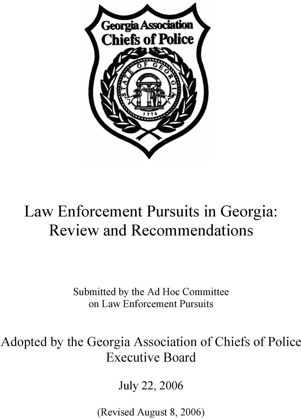 Enforcement Pursuits Adopted by the Georgia Association of